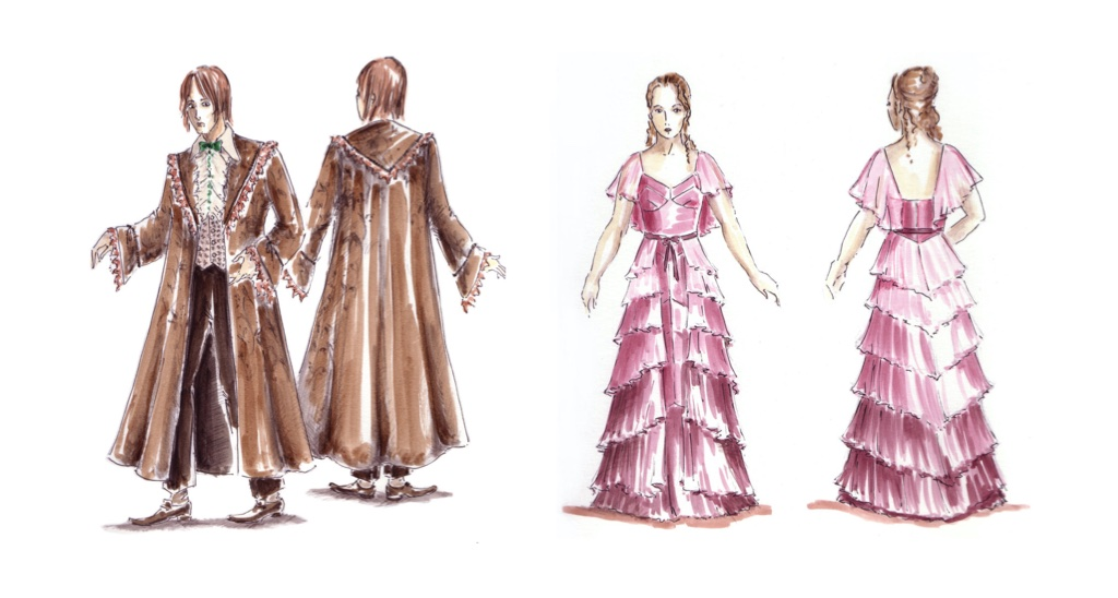 Sketches of costumes for Harry Potter