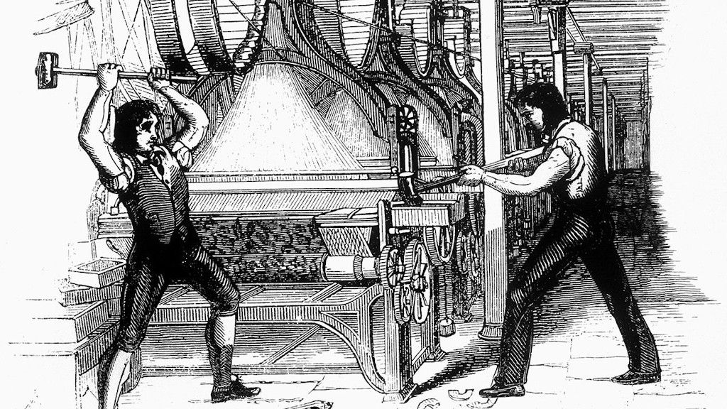 Luddites breaking power loom machine