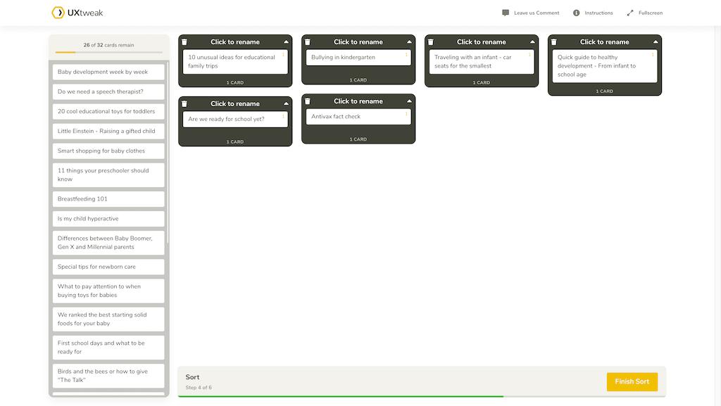 UXtweak card sorting screenshot