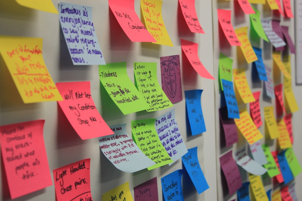 Post-it notes on the wall following a co-design workshop