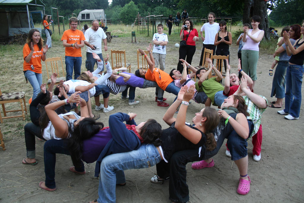 Group of people playing a trust game